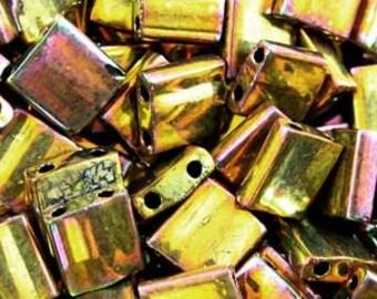 MIYUKI TILA square SEEDBEAD  7.2grm approx. Metallic gold iris tl462
