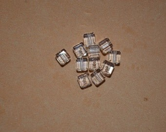 12 - 4mm Genuine Swarovski Crystal Cube Beads - Clear