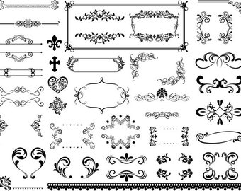 Instant Download Digital Flourish Swirl Frame Border Clip Art Vintage Swirl Frame ClipArt Scrapbooking Embellishment Wedding Invitation 0323