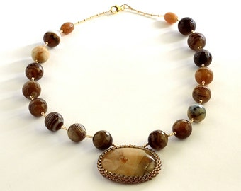 Coffee brown agate necklace Agat Necklace