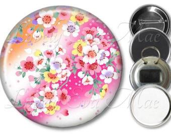 Japanese Pink Floral Pocket Mirror, Magnet, Bottle Opener Key Ring, Pin Back Button, Make Up Mirror, Refrigerator Magnet, Floral Keychain