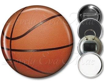 Basketball Pocket Mirror, Basketball Magnet, Bottle Opener Key Ring, Pin Back Button, Basketball Keychain, Orange and Black, Sports, Athlete