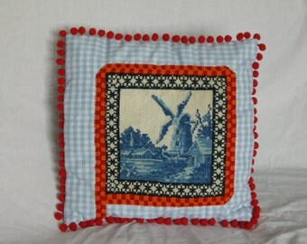 Pillow, handmade of vintage needlepoint and cottton, by VintageRemakery