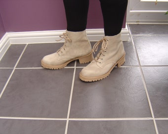 Beige Canvas Boot