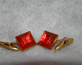 Vintage Red Jewel Cuff Links