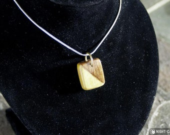 Two tone rectangular hardwood pendant on 16 Inch Silver plated chain