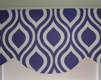 window valance , valance lined, window curtain, scallop style. purple, black and white, floral and  yellow.