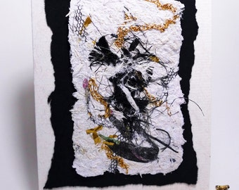 Handmade card Recycled Handmade paper Blank Upcycled Any occasion OOAK Abstract art card Black and white Dance Putting on the Ritz Scottish