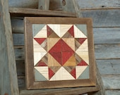 americana country star quilt block, red white and blue barn quilt block decor, Missouri star quilt block