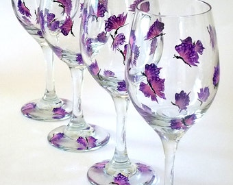 Set of 4 Hand Painted Wine Glasses Purple Butterflies Hand Painted Glassware Stemware Hand-painted Wine Glasses Painted Wine Glasses Custom