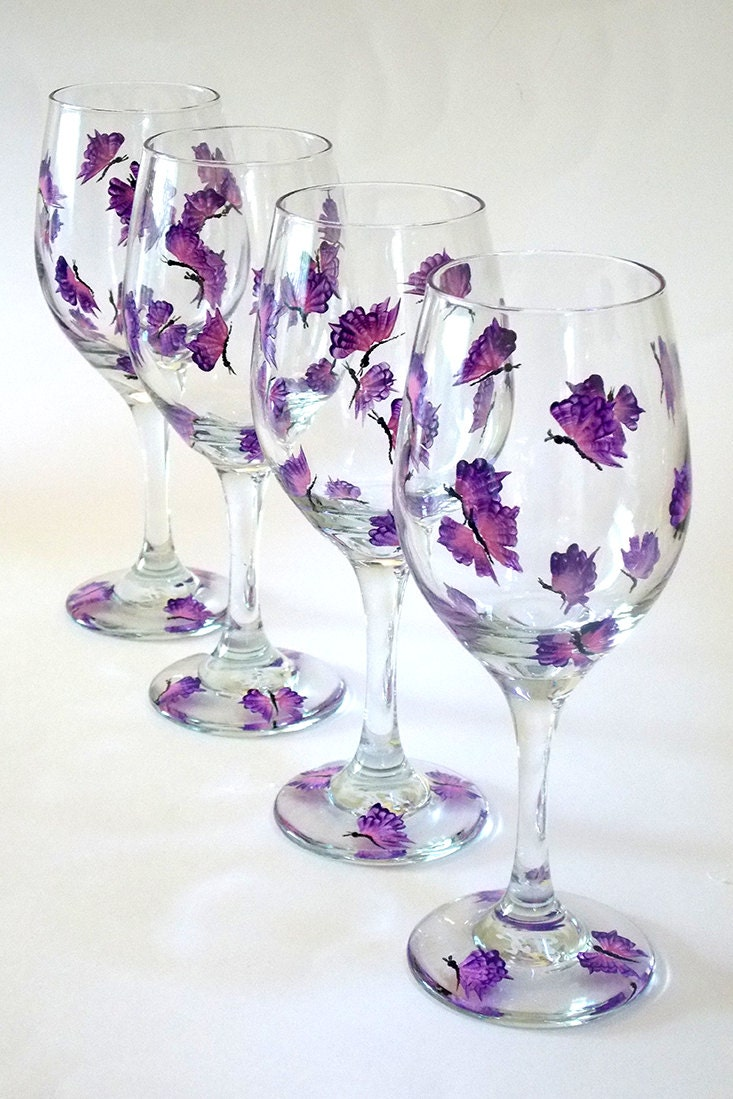 Set of 4 hand painted wine glasses purple butterflies hand for What paint do you use to paint wine glasses