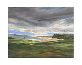 Golf Art. Golf Gift. Golf Wall Decor. Tralee Golf Course, Ireland. Print of original oil painting.