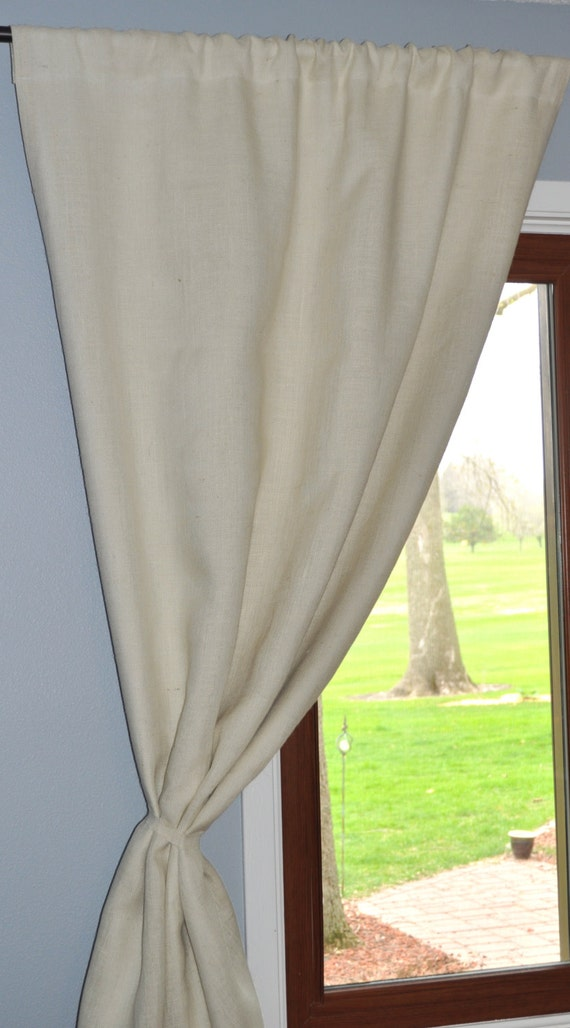 Cotton Lined White Burlap Curtain Panel 57 Wide X By Naptimediyer