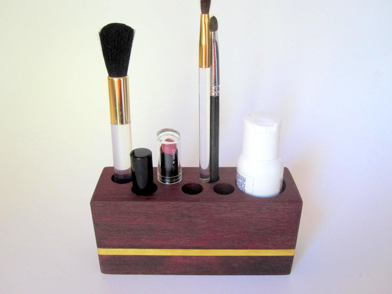 Wooden Makeup Organizer & Cosmetic Brush Storage. by psItsDebbie
