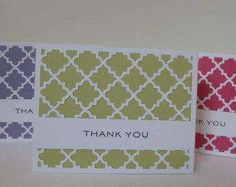 Set of 6 Colorful Thank You Cards, Blank Note Cards, Quatrefoil Thank You Card