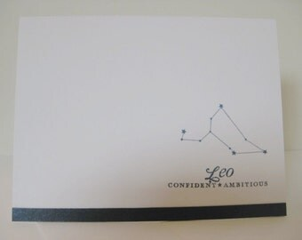 Leo Zodiac Birthday Card, Leo Zodiac Constellation Card, Astrology Sign Card