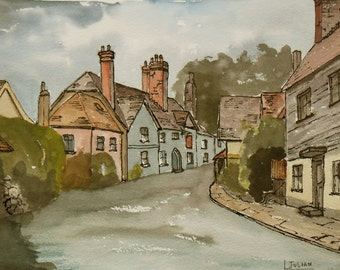 The Nevill Bull at Birling Kent An Original painting     of this historic village pub.
