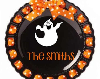 Personalized Holiday Plate ~ Prissy Plate ~ Monogram ~ Halloween Ghost Plate