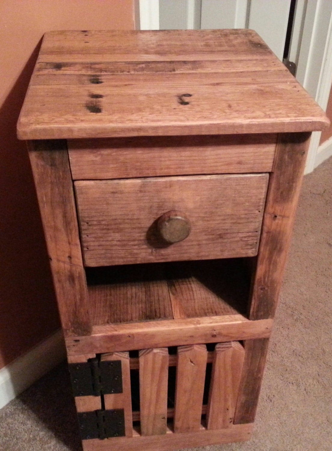 Rustic reclaimed wood night stand end table side