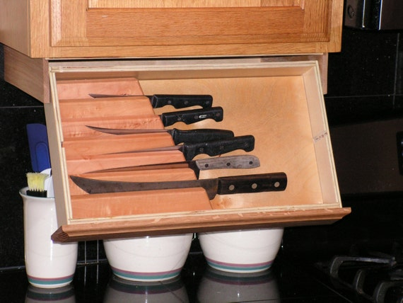 under cabinet knife rack