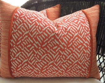 Ibiza Zippered Pillow Cover in Mandarin Orange and Coral Ikat Cotton with Chenille and Tweed, 22x18