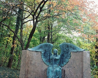 Cemetery Angel in Autumn-Angel Photography, Cemetery Photography, Cleveland, Ohio, Angel Statue, Bronze Sculpture,  Angel of Death