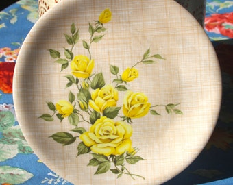Stunning Yellow Rose Ornamin Ware Melmac T.M. Reg Bread and Butter  Plate For Picnic, Barbeque Floral