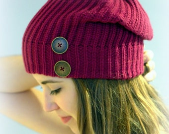 Plum beanie, plum hat, tuque, knit beanie with 2 big brass buttons, Slouchy Beanie, purple cap, slouchy hat, women's beanie, winter hat.