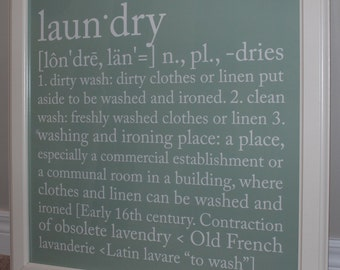 FREE SHIPPING - Laundry Definition Sign - Print or Canvas
