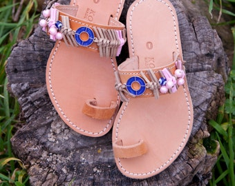 Summer flats, leather sandals, hand-finished shoes