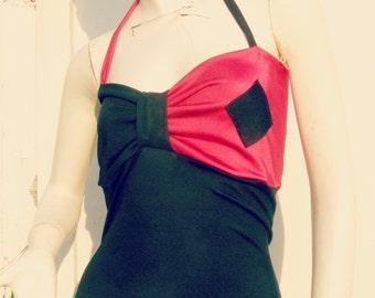 Harley Quinn Tankini top Bikini Swim Suit costume Cosplay Arkham