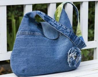 Denim bag «Vienna», recycled denim handbag, casual bag, jeans bag, shoulder bag, handmade bag