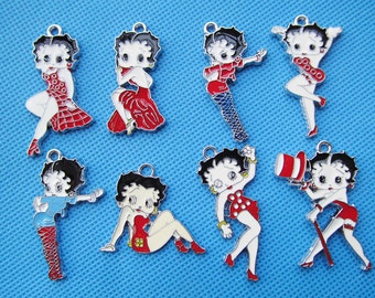 8pcs Mixed Silver tone Filigree Lovely Betty Boop Pendant Charm/Finding,DIY Accessory Jewellery Making