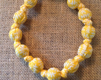 Yellow and White Branch ORGANIC Teething and Nursing Necklace, Fabric Necklace, Baby Teether