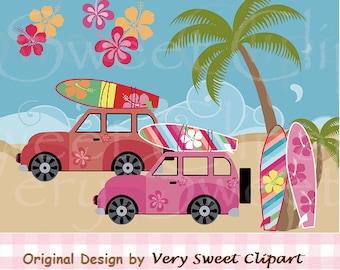 Summer surf buggy palm tree clipart digital illustration