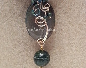 Green-Forest Green Agate Gemstone Wire Wrapped Pendant