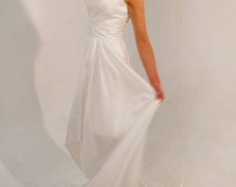 Custom made 'Chloe' One shoulder asymmetric hem train hourglass wedding evening prom bridesmaid