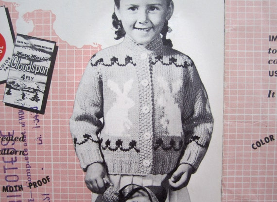 Rabbit Sweater Knitting Pattern : Bunny rabbit sweater knitting pattern vintage mary
