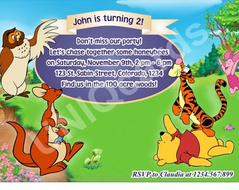 3-Winnie invitation, Winnie the Pooh birthday invitation, Pooh Bear invitation