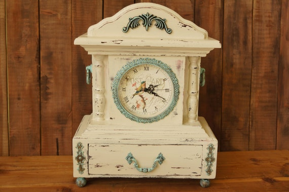 Mantle Clocks Unique LARGE Clock With Bird Shabby Chic White