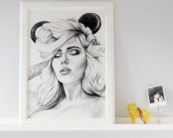 Hear No Evil - Black & White Giclee Art Print