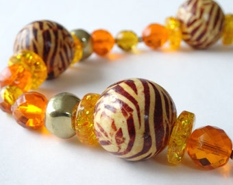 Striped wooden beads yellow and orange Czech crystal necklace