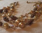 "Venetian  Glass & ""Pearl"" Triple Strand Necklace"