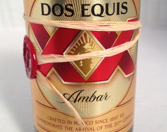 Dos Equis Amber Beer Bottle Candle Soy Wax Recycled