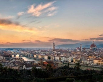 Florence Italy at Sunset Photography, Piazzale Michelangelo Overlook Photograph, Arno River, Wall Art, Home Decor- Florence Fantasy