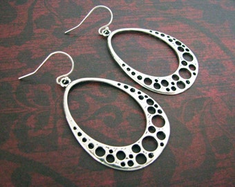 Silver Hoop Earrings Clip or Pierced  Handmade Modern Silver Filigree Jewelry Architectural Hoop Earrings