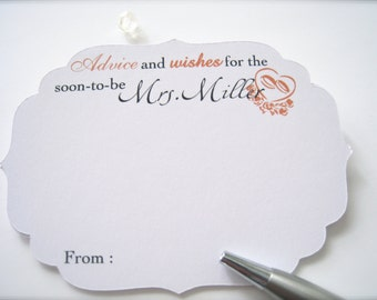 Advice and wishes for the bride cards, bridal shower comment cards, best wishes cards, bridal shower game cards, advice card - 30 cards(ac4)