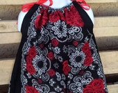 Black w/Red Roses Bandana Girls Dress/Shirt