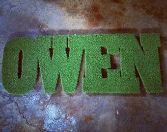 Customizable Name Synthetic Grass Rug