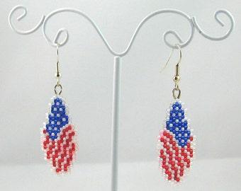 Beaded American Flag Tears Earrings